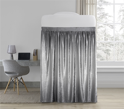 Coma Inducer Bed Skirt Panel with Ties - Ombre Velvet Crush - Light Gray/Dark Gray