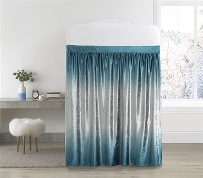 Coma Inducer Bed Skirt Panel with Ties - Ombre Velvet Crush - Ocean Depths Teal/Silver Gray