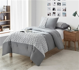 Textured Dorm Bedding Ideas for College Freshmen Cozy Cotton Dorm Comforter Neutral College Decor Tips