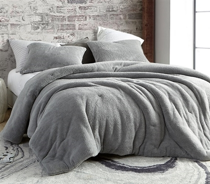 Coma Inducer Oversized Twin Comforter - Teddy Bear - Silver Gray