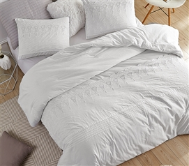 Neutral Dorm Bedding Cotton Twin XL Comforter College Bedding Essentials for Freshmen