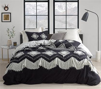 Hometown Antiquity Textured Twin XL Duvet Cover - Black/Glacier Gray