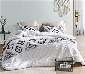 Navy Blowout Textured Twin XL Duvet Cover - White/Gray