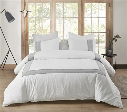Boutique Border Textured Twin XL Duvet Cover - Hotel Gray
