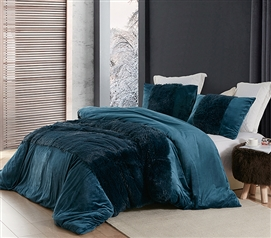 Oversized Dorm Duvet Cover Navy Blue Bedding Ideas for College Size Mattress Dimensions