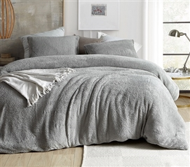 College Duvet Cover for Dorm Comforter Insert Gray Twin Extra Long Bedding Neutral Dorm Decor