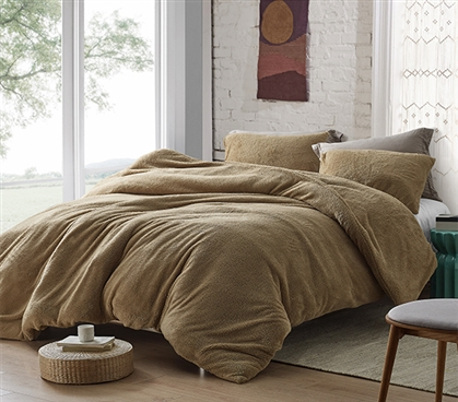 Coma Inducer Twin XL Duvet Cover - Teddy Bear - Taupe Natural