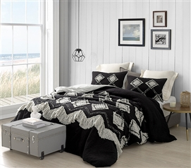 Hometown Antiquity Textured Twin XL Comforter - Black/Glacier Gray