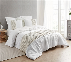 Knit and Loop Textured Twin XL Comforter - Almond Cream