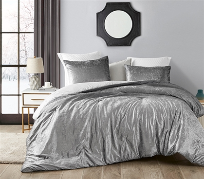 Coma Inducer Twin XL Comforter - Ombre Velvet Crush - Light Gray/Dark Gray