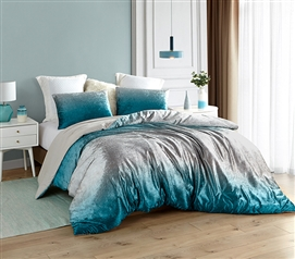 Coma Inducer Twin XL Comforter - Ombre Velvet Crush - Ocean Depths Teal/Silver Gray
