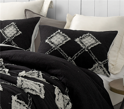 Hometown Antiquity Textured Sham - Black/Glacier Gray (2-Pack)