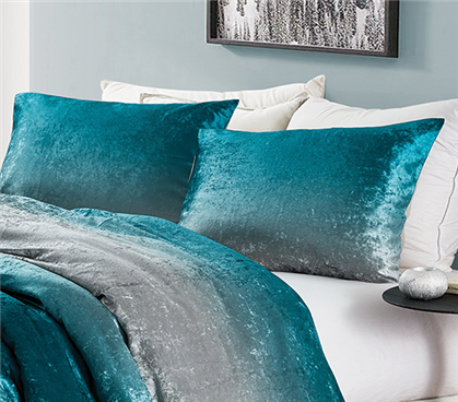 Coma Inducer Sham (2-Pack) - Ombre Velvet Crush - Ocean Depths Teal/Silver Gray