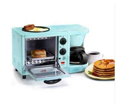 Fun College Supply - 3-in-1 Multifunction Breakfast Deluxe - Aqua - Makes Quick Dorm Meals