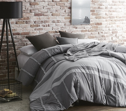 Gray Dual Tone Linear Ruffles College Bedding Handcrafted Series Twin XL Comforter