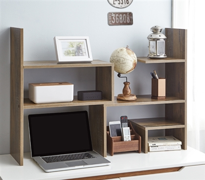 Yak About It Compact Adjustable Dorm Desk Bookshelf - Rustic