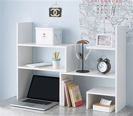 Yak About It Compact Adjustable Dorm Desk Bookshelf - White