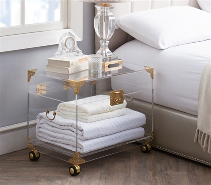 Beautiful Ciao Bella Acrylic Trunk Stylish Rustic Brass with Wheels Essential Dorm Decor