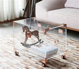Ciao Bella Acrylic Trunk - Rose Gold with Wheels