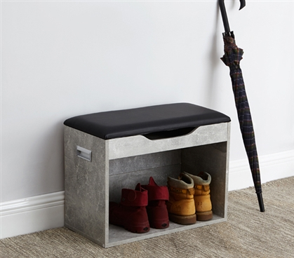 Marble Gray Yak About It Boot Rack Bench with Top Cushion Compact College Furniture