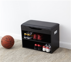 Unique Yak About It Dorm Room Shoe Rack Bench with Top Cushion Compact Black College Furniture