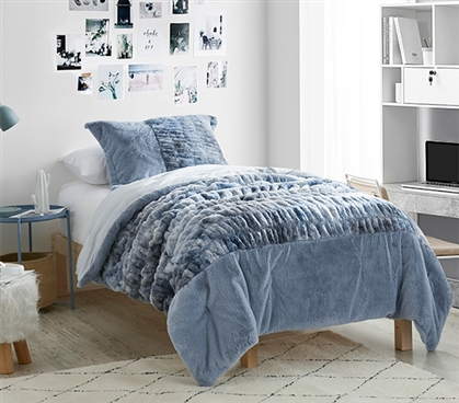 Twin Extra Long Comforter Set Periwinkle Bedding Blue Faux Fur Blanket for Dorm Size Bed Dimensions