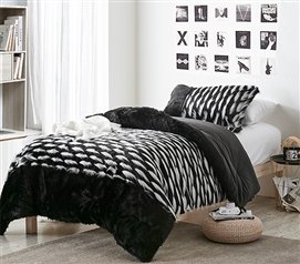 Tiger Lion - Coma Inducer Twin XL Comforter - Zebra Black