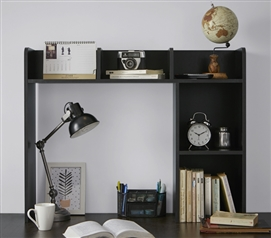 Classic Dorm Desk Bookshelf - Black Dorm Essentials Dorm Necessities
