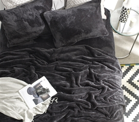 Black Plush College Bedding The Original Unique Coma Inducer Extra Long Twin Sheet Set Black