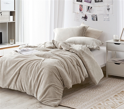 Easy to Match Neutral Dorm Bedding The Original Plush Coma Inducer Almond Milk Twin Extra Long Comforter