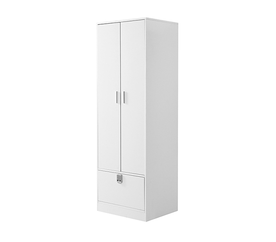 Yak About It Locking Safe Wardrobe Closet   White
