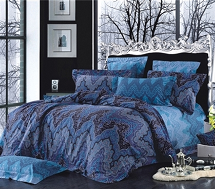 Artica Twin XL Comforter Set - College Ave Designer Series - Cheap College Bedding For Dorms Blue and Purple Dark Patterned