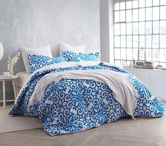 Crystalline Blue Twin Xl Comforter Set College Ave Cheap College Bedding