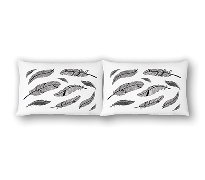 College Pillowcases - Feathers (2-Pack) Dorm Essentials Twin XL Bedding