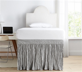 Essential College Bedding Alloy Gray Dorm Room Bed Skirt Panel with Ties Stylish Crinkle Design