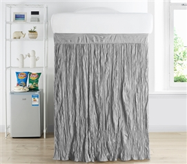 Crinkle Extended Dorm Sized Bed Skirt Panel with Ties - Alloy (For raised or lofted beds)