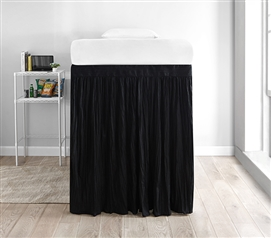 Crinkle Extended Dorm Sized Bed Skirt Panel with Ties - Black (For raised or lofted beds)