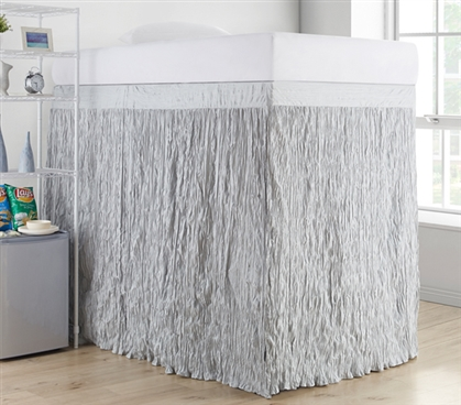 Crinkle Extended Dorm Sized Bed Skirt Panel with Ties - Glacier Gray (For raised or lofted beds)