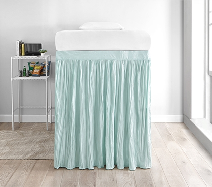 Crinkle Extended Dorm Sized Bed Skirt Panel with Ties - Hint of Mint (For raised or lofted beds)