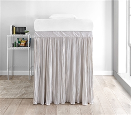 Crinkle Extended Dorm Sized Bed Skirt Panel with Ties - Jet Stream (For raised or lofted beds)