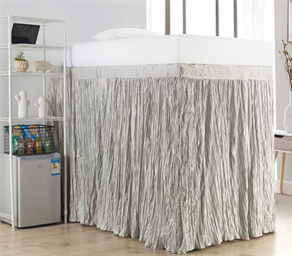 Crinkle Extended Dorm Sized Bed Skirt Panel with Ties - Silver Birch (For raised or lofted beds)