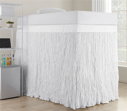 Crinkle Extended Dorm Sized Bed Skirt Panel with Ties - White (For raised or lofted beds)