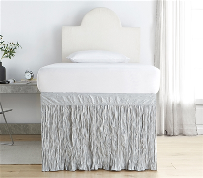 Crinkle Dorm Sized Bed Skirt Panel with Ties - Glacier Gray