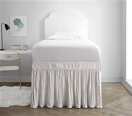 Twin XL Sized Dorm Bed Skirt Panel with Ties Jet Stream Off White Stylish College Bedding
