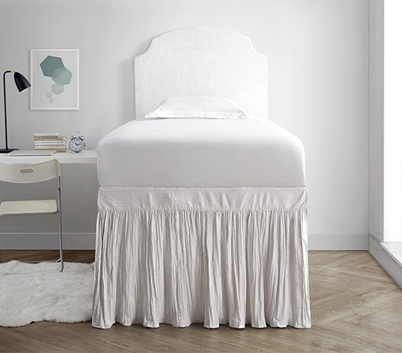 Neutral Dorm Room Bedding College Bed Skirt Panel With Ties Off White Jet Stream Twin Xl Bedding Decor