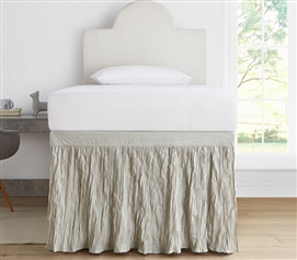 Crinkle Dorm Sized Bed Skirt Panel with Ties - Silver Birch