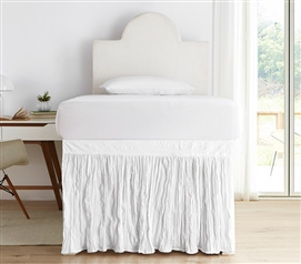 Crinkle Dorm Sized Bed Skirt Panel with Ties - White