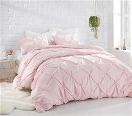 Rose Quartz Pin Tuck Full Comforter - Oversized Full XL Bedding
