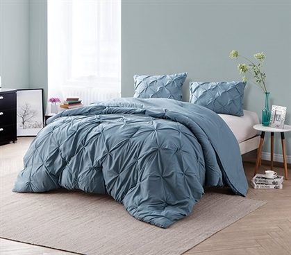 Smoke Blue Pin Tuck Full Comforter - Oversized Full XL Bedding