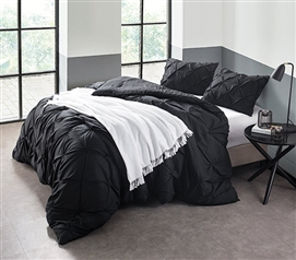 Black Pin Tuck Twin XL Comforter Extra Long Twin Bedding Dorm Essentials